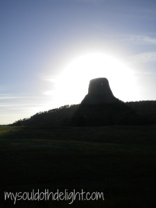 Devils Tower Sun Shining Behind