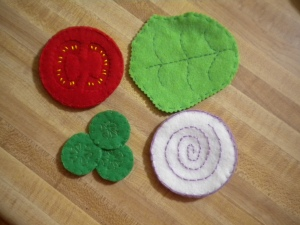 Felt hamburger veggies
